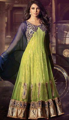 Pakistani Indian Olive Green Nett Jacquard Churidar Kameez Anarkali Dresses, Dress