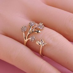 925 Sterling Silver Lovely Adjustable Size Butterfly Trees Engagement Ring for Women Girls Fashion Party Jewelry Gifts(Color: Si