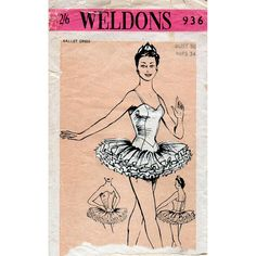 1950s Women's Ballet Tutu Vintage Sewing Pattern by BessieAndMaive, $58.00