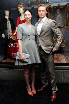 Caitriona Balfe and Sam Heughan in 21st century outfits. Photo: Desiree Navarro/Getty