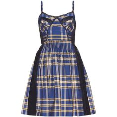 Miu Miu Lace-Trimmed Check Cotton Dress (4.770 BRL) ❤ liked on Polyvore featuring dresses, blue, blue dress, miu miu, blue checkered dress, cotton day dresses and lace trim dress