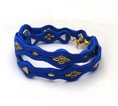 Gold royal blue Soutache Cuff Bracelet Unique by sutaszula on Etsy
