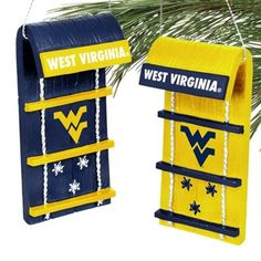 West Virginia Mountaineers 4-Pack Toboggan Ornament Set - Navy Blue/Old Gold