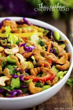 Thai Cashew Chopped Salad with a Ginger Peanut Sauce | The Recipe Critic