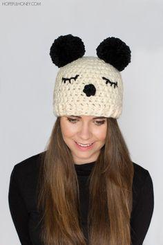 Panda Pompom Hat - Free Crochet Pattern
