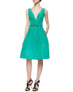 Fit-and-Flare+Pouf+Dress+&+Crystal+Faille+Skinny+Belt+by+Oscar+de+la+Renta+at+Neiman+Marcus.