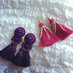 Today is my lucky day! 2 pairs of tassel earrings for only 3€! #sale #hm #everythingemeraldblogcomingsoon #tassel #earrings #pink #purple
