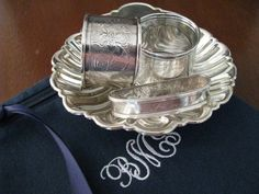#3 Sterling silver napkin rings and Gorham sterling shell dish, stored in a 6 x 6 Zippered Monogrammed Flannel Anti-Tarnish Bag by SherwoodSilverBags on Etsy
