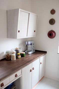Selbstgebaute Küche selfmade kitchen in germany out of wood copper retro style