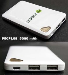 Powerbank Slim MACBOOK Model P50PL09 * Material: ABS Plastic - UV Coating * Capacity: 5.000mAh 3.7V- Real Capacity * Input: 5V 2A (fast charging) * 2 Outputs: Output 1 - 5V 2.1A, Output 2 - 5V 1A * LED Indicator Prize include: * 4 Connector - Micro USB, Mini USB, Nokia, Iphone 4 * Print logos and packing excluded * 1 year guarantee