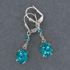 Sadie Green's Blue Zircon Set Crystal Earring