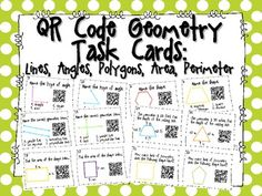 QR Code Geometry Task Cards: Lines, Angles, Polygons, Area, Perimeter (Common Core Aligned) $1.99