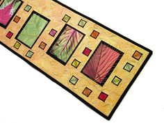Quilted Wall Hanging Fiber Art Leaves Mixed Media