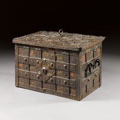 GERMAN, 17TH CENTURY STRONGBOX iron, with original key and elaborate locking mechanism 42 by 68.5 by 47cm., 16½ by 26¾ by 18½in.
