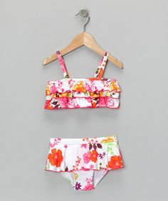 Take a look at this White & Orange Flowers Bikini - Infant, Toddler & Girls by Penelope Mack: Swimwear on #zulily today!