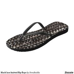 Black lace knitted flip flops