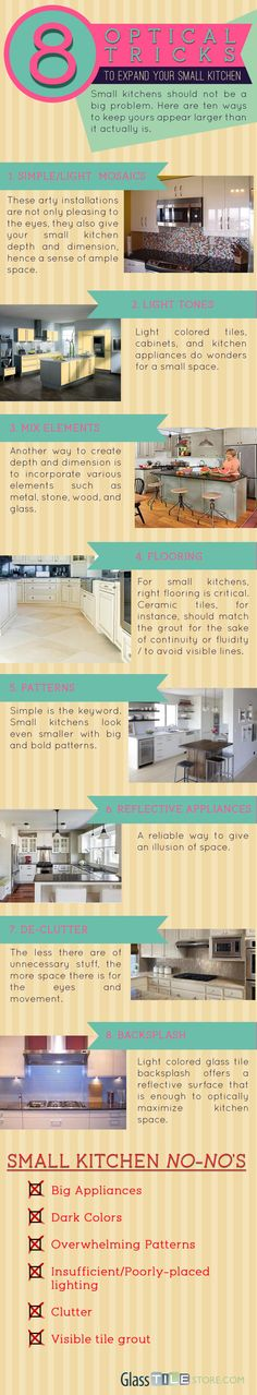 a handy infographic on how to creat optical illusions to make your small kitchen appear larger.