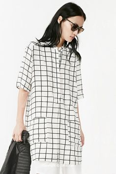 Plaid Pocket Half Sleeve Dress