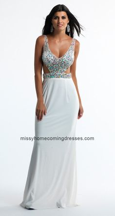White Dave and Johnny 10528 Figure Flattering Floor-Length Prom Gown