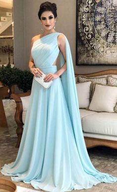 Beading Appliques A-line Lace Prom Dresses Blue