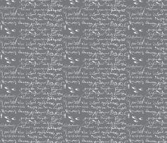 French Script Bold, Steel Gray fabric by karenharveycox on Spoonflower - custom fabric