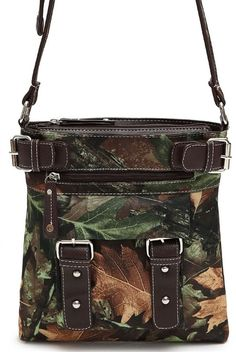 Western Camouflage Print Belt Fashion Crossbody Messenger Bag in Brown - Andreas Boutique #camo #country #hunting