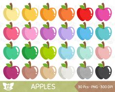 50% OFF Apple Clipart, Apples Clip Art, Fruit Cartoon Food School Teacher Teaching Rainbow Cute Digital Graphic PNG Download, Commercial Use by FluffyFoxDesign on Etsy