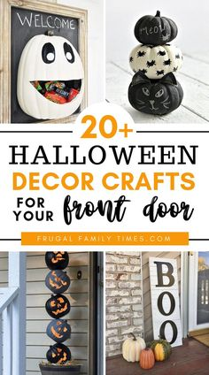 You can have a fun and friendly Halloween front door and porch with these decor craft ideas! This collection of Halloweeen crafts is light-hearted and fun - there is nothing especially scary here - which is nice for little kids to enjoy. Included are Halloween signs, Halloween door mat, Halloween wreaths and Halloween decorations with lights, like candles and pumpkins! #halloweencrafts #halloweendecor #halloweenideas #halloweenfun