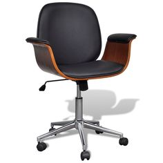 Office Computer Chair Adjustable Swivel Wood Faux Leather Seat Retro Style Chair