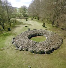 Cairns at Balnuaran of Clava, Scotland. Comprising passage graves, ring cairns, a kerb cairn, standing stones and the remains of a chapel