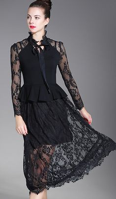 Chic Stand Collar Lace Hollow Out Slim A-Line Dress