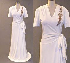Vintage 1940s Dress, 40s Ivory Evening Dress with Sequins, Draped Grecian Goddess Old Hollywood Gown Medium by daisyandstella on Etsy