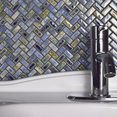 SomerTile 11.625x11.625-inch Samoan Herringbone Neptune Blue Porcelain Mosaic Floor and Wall Tile (1