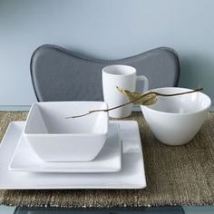 West Elm offers modern furniture and home decor featuring inspiring designs and colors. Create a stylish space with home accessories from West Elm. Modern Dinnerware, White Dinnerware, Square Plates, White Dishes, Plates And Bowls, Grey And White, White Ceramics, Home Accessories, Modern Furniture