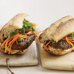 Is this an American take on a Vietnamese classic or a Vietnamese take on an American classic? Either way, these spicy burgers topped with Tabasco-spik...