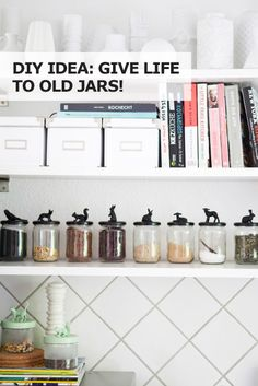 IKEA DIY Craft Idea: Give life to old jars and create cute storagefor your craft room, kids' room, bedroom or kitchen with animal figures and some paint!