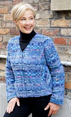 LucilleCrighton blues v-neck SS Loom Weaving, Hand Weaving, Blue V, Ss, V Neck, Jackets, Inspiration, Women, Fashion