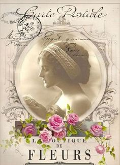 Vintage woman digital collage p1022 Free for personal use
