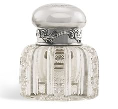 A Fabergé silver and glass inkwell, Moscow, 1908-1917