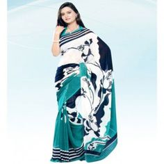 Tri Color printed saree for $30