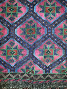 Cicim kilim at nomadic trading co in durham.   Love the green and pink!!