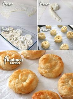Pour plus clique ci-dessous Bread And Pastries, Happy Cook, Salty Foods, Recipe Mix, Breakfast Items, Köstliche Desserts, Turkish Recipes, Snacks, Dinner Rolls