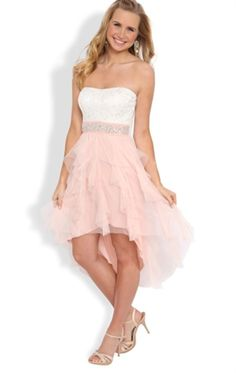 Strapless High Low Prom Dress with Lace Bodice and Tendril Skirt