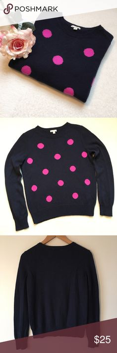 """{GAP} Polka Dot Crew Neck Sweater Adorable GAP polka dot sweater. Navy blue with hot pink polka dots. Crew neck. Long sleeves. 18 1/2"""" pit to pit. 22 1/2"""" shoulder to bottom of hem. 55% nylon 30% wool 15% acrylic. Good preloved condition. Minor pilling under arms. GAP Sweaters Crew & Scoop Necks"""