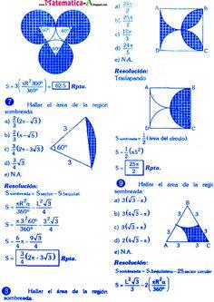 MATEMATICAS PROBLEMAS RESUELTOS: ÁREAS DE REGIONES SOMBREADAS CONCEPTOS Y EJERCICIOS DESARROLLADOS Math Vocabulary, Maths Algebra, Math Formula Chart, Math Tutorials, Geometry Problems, Math Quotes, Math Sheets, Math Magic, Physics And Mathematics