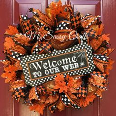 Halloween Wreath - Halloween Deco Mesh Wreath - Orange and Black Wreath - Welcome to Our Web Wreath - Spider Wreath - Spider Web Wreath by MsSassyCrafts on Etsy https://www.etsy.com/listing/246407866/halloween-wreath-halloween-deco-mesh