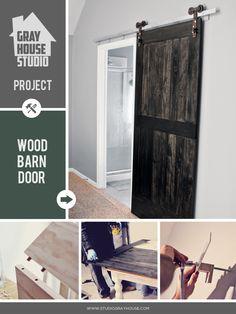 Wood #BarnDoor with Metal Rollers | #GrayHouseStudio Project