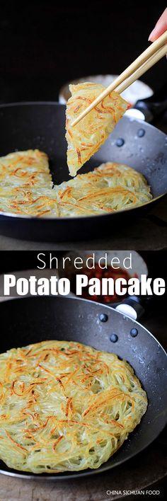 Chinese Potato Pancake - My Vegan Recipes Chinese Food Recipes, Indian Food Recipes, Asian Recipes, Vegetarian Recipes, Cooking Recipes, Healthy Recipes, Potato Dishes, Potato Recipes, Gastronomia