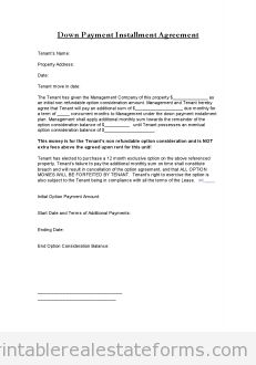 Free Down Payment Installment Agreement Printable Real Estate Document Documents