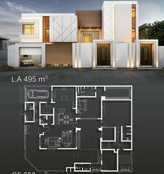 Beautiful House Plans, Modern House Plans, Modern House Design, House Layout Plans, House Layouts, Urban Design Diagram, Real Estate Flyers, Social Housing, Exterior Design